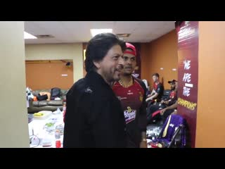 Straight from the dressing room of champions!  watch @iamsrk congratulate the players