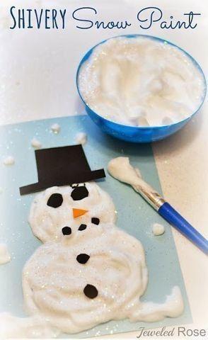 ОБЪЕМНЫЕ ЗИМНИЕ КРАСКИ Если смешать в равном объеме клей ПВА и пену для бритья, то получится замечательная воздушная снежная краска. Ей можно рисовать снежинки, снеговиков, белых медведей и