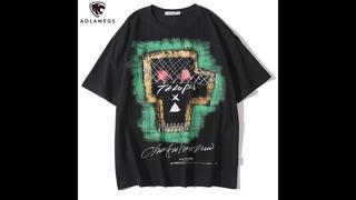 Aolamegs, мужская футболка, крутая, уличная, с принтом граффити, мужские футболки, с круглым вырезом, повседневные футболки,