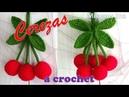 Cerezas tejidas a crochet - MANUALIDADES A CROCHET PARA COCINA