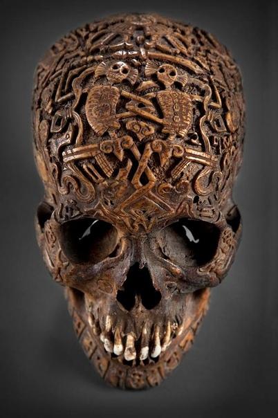 Устрашающий человеческий череп, целиком покрытый резьбой, был куплен одним коллекционером в антикварном магазине Вены