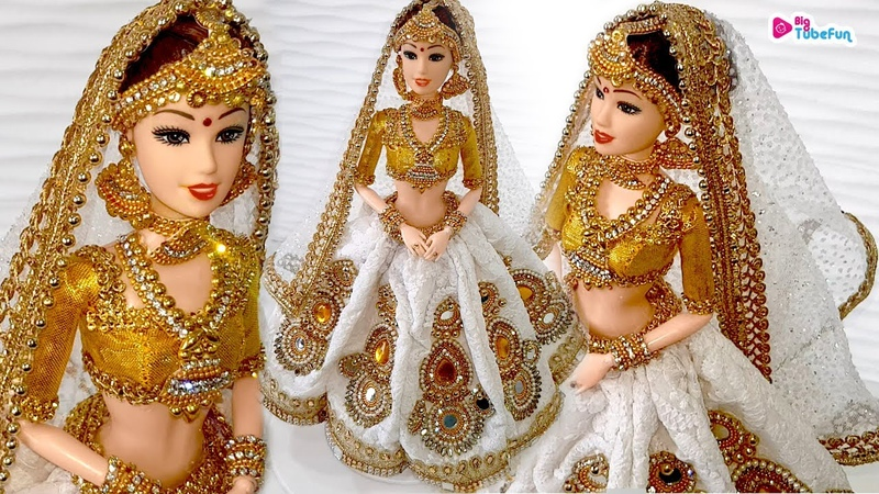 Designer Lucknowi Lehenga Making For BarbieBridal Costume Jewellery For Barbie Doll Decoration