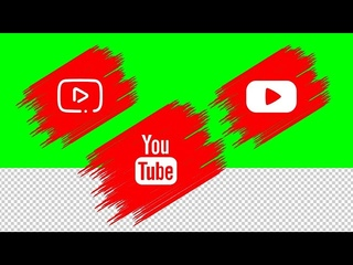 3 YouTube logo animations green screen, transparent background