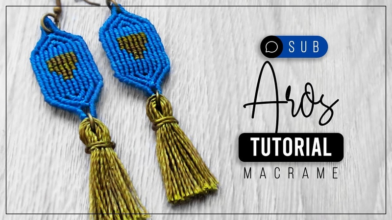 Aros Alpha 🍀 tutorial como hacer aretes de hilo diy ● Macrame 187