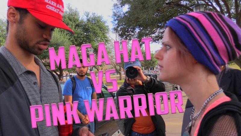 2017 Inauguration day MAGA Hat vs Pink Warrior Austin Texas