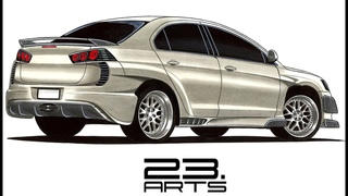 How to draw Mitsubishi Lancer | Как нарисовать Мицубиси Лансер | Realistic drawing Mitsubishi Lancer