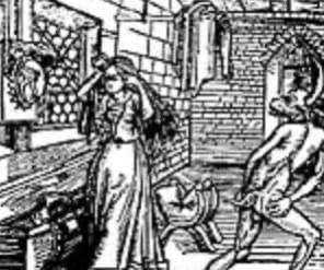 Сра́мный поцелу́й средневековое поверье, получившее распространение во время охоты на ведьм, согласно которому в начале шабаша ведьмы совершали обряд приветствия дьявола, включавший в себя