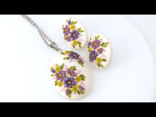 Flower jewelry kit. Floral earrings. Polymer clay. Floriance.