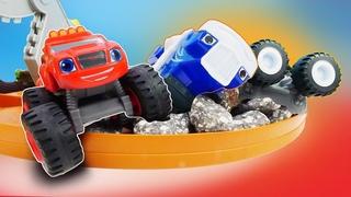 A nova pista de corrida do Crusher! História infantil com carros Blaze and the Monster Machines
