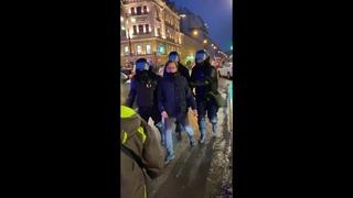 Полицейский бьёт в живот пожилую женщину на митинге в поддержку Навального.