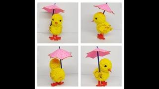 How to make a Pom Pom  Chick with umbrella   5min craft   Pom pom Making   Yarn Chicken   Hand craft