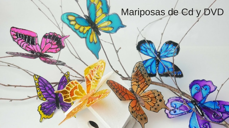 🦋Como Hacer Mariposas con Cd´s y DVD´s Muy Fácil y divertido