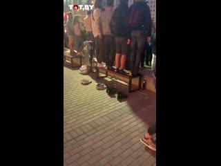 Беларусы снимают обувь перед тем как встать на лавочку ногами
