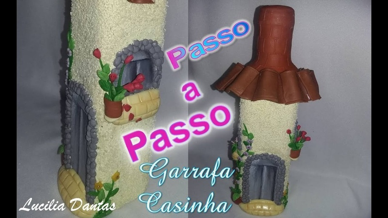 DIY Garrafa Casinha Florida de Biscuit ♥LU Passo a Passo