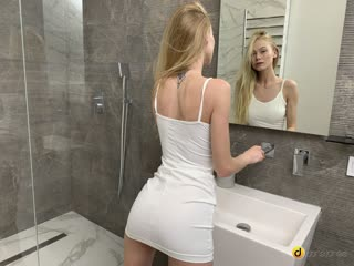 Sexy blonde solo shower orgasms Nancy Ace