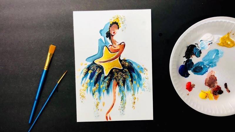 БАЛЕРИНА Как нарисовать балерину Рисование для начинающих Как самостоятельно рисовать картину
