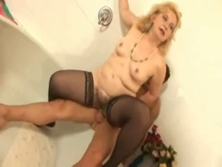 Chubby hairy little titted granny in stockings and a cock - xhamster_com