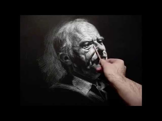 Zimou Tan Art White chalk pencil on black paper crosshatching step by step drawing demo.