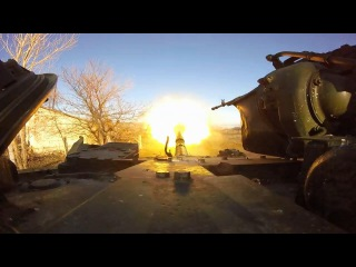 Ukraine War 2015 - Ukrainian Tank with GoPro --  Live Direct Fire HD