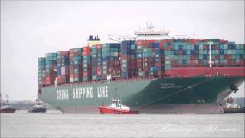 Containerriese sitzt weiter fest auf der Elbe 2016 CSCL INDIAN OCEAN