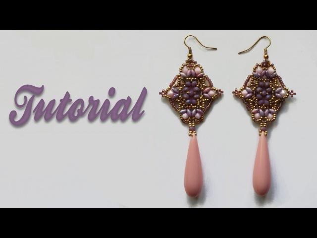 Beadwork Tutorial Mosque Window Earrings DIY Orecchini con cipollotti superduo e bicono