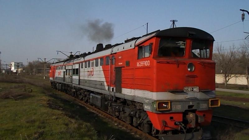 2ТЭ10У-0455 (ТЧЭ-14 Сальск), ТЧЭ-6 Батайск (Южный ПТОЛ), 8 апреля 2016 года.
