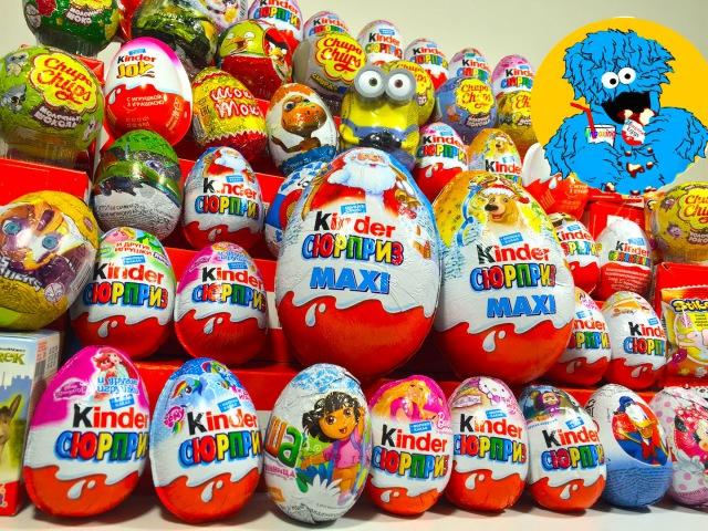 55 Киндер Сюрпризов Unboxing Kinder Surprise Маша и Медведь Barbie Peppa Pig Giant KinderMaxi