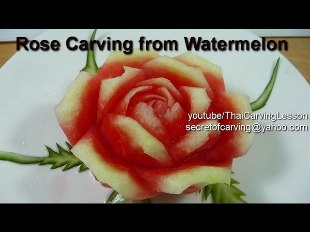 Watermelon Carving Rolled Petals Rose Design 2 Lessons 10 for Advance แกะสลักกุหลาบกลีบม้วนจากแต 35