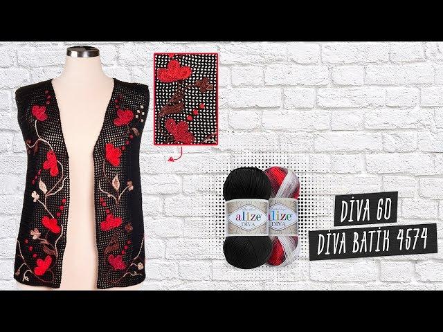 Alize Diva ve Diva Batik ile Tığ İşi Yelek Yapımı-Making Crochet Work Vest