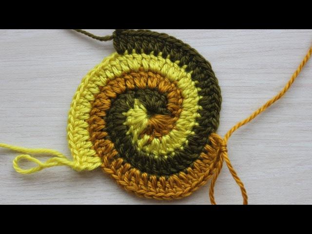 Вязание крючком Урок 15 1 Круг спираль начало Spiral crochet circle motif
