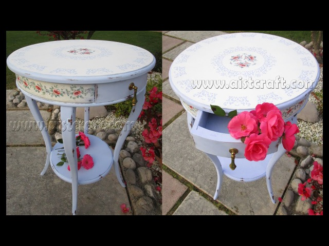 How to Chalk Paint Distress and decoupage furniture a Table Furniture refinishing