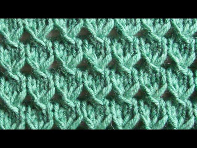 Простой ажурный узор Вязание спицами Видеоурок 114