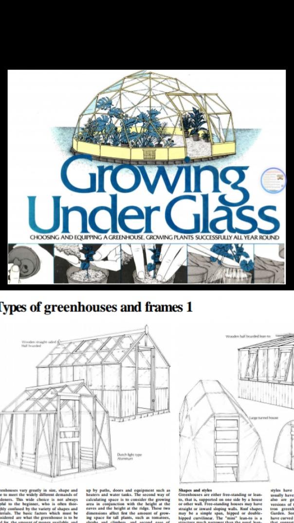 Growing Under Glass Choosing