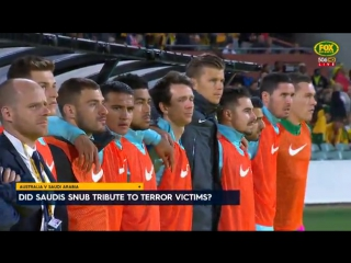Saudi arabian soccer team refused to line up for a minute's silence for the london terror