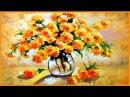Soleado ramo de flores. Paso a paso pintar flores fácil Pintura flores al oleo o flores con acrilico