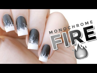 White Hot | Monochrome Drag Marble Fire Flames Nail Art