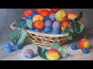Рисуем сливы и яблоки - ретушный лак в многослойной живописи - видео 2