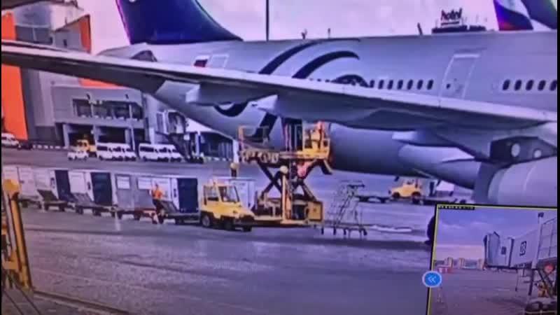 Момент падения грузчика в аэропорту Шереметьево с FMC