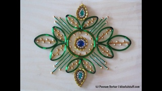 DIY - Kundan rangoli using broken bangles   Best out of waste