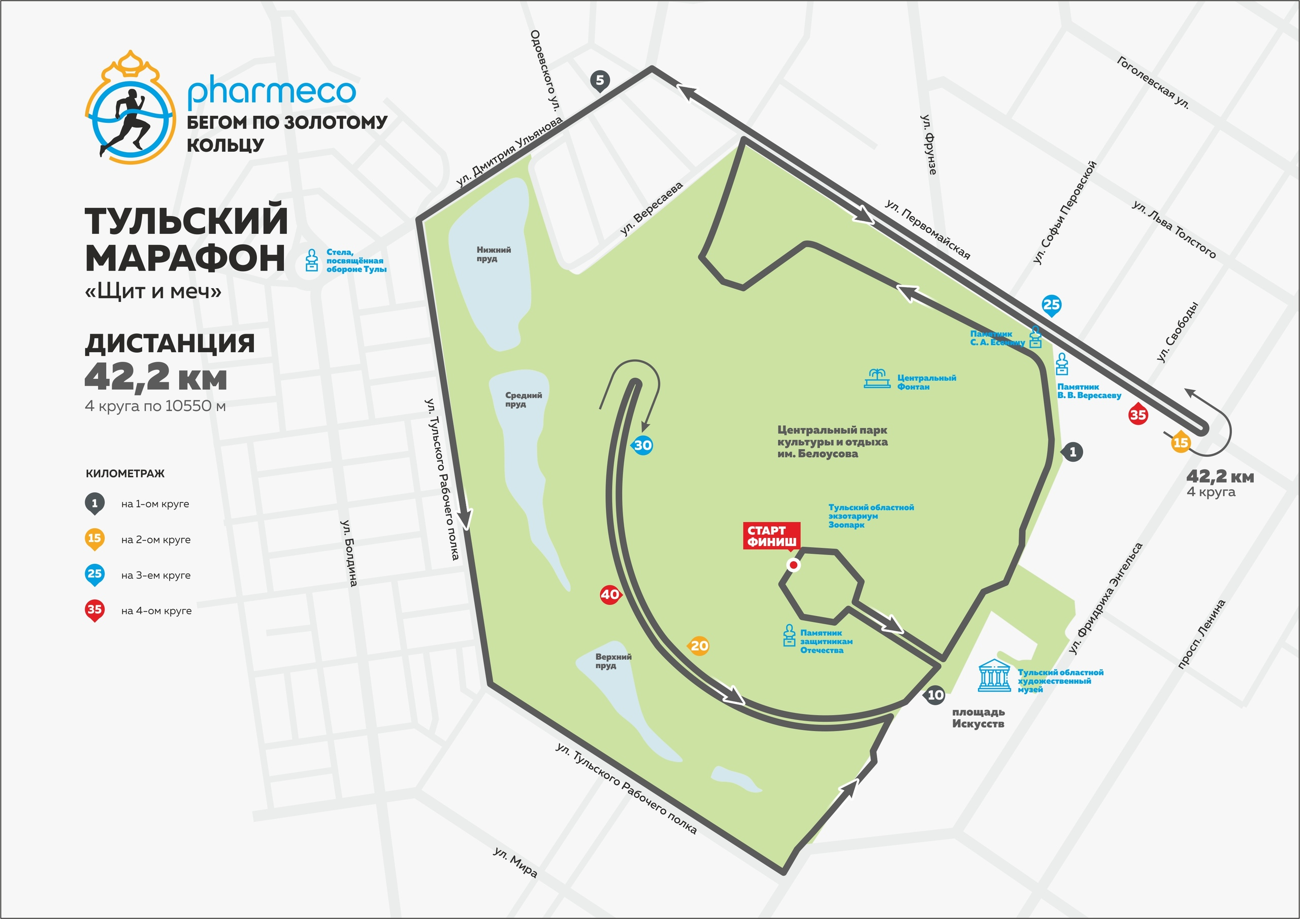 Дистанция 42,2 км Тульского марафона