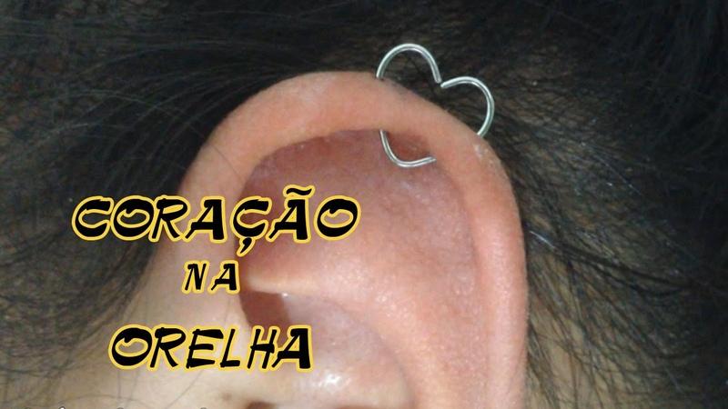 Coraçao na orelha Piercing de coraçao