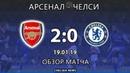 Арсенал - Челси (2:0). Обзор матча. Arsenal - Chelsea (2:0). Highlights. 19.01.2019