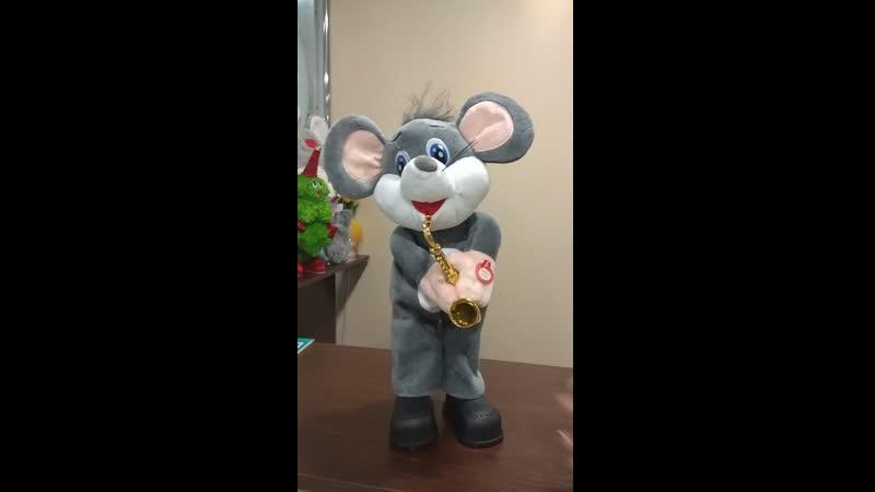 Мыша с саксофоном 3 мелодии, двигается - 850 руб