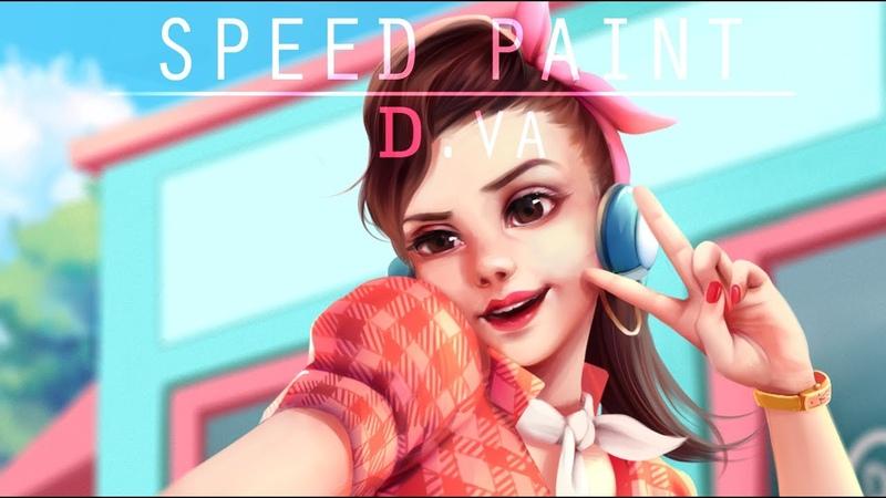 Speed Paint- D.VA anniversary skin- Paint tool sai- Lulybot