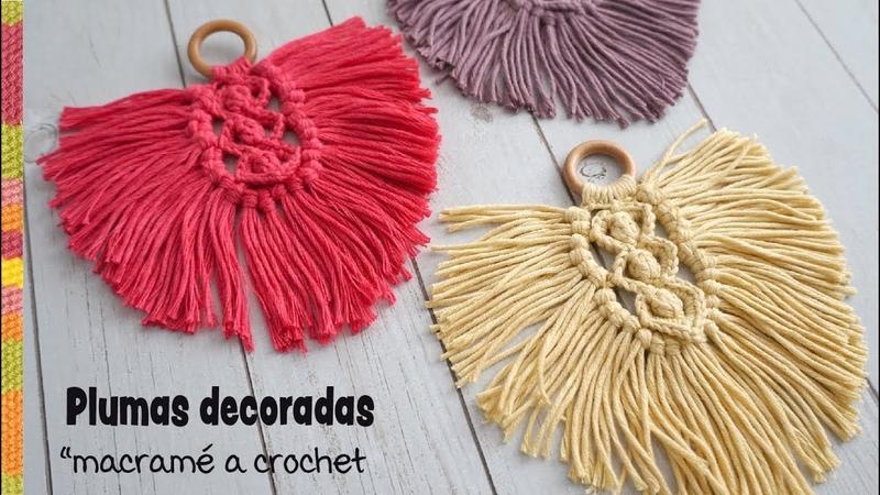 Plumas decoradas macramé tejidas a crochet Tejiendo Perú 😉
