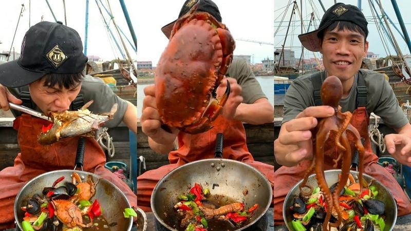 渔民吃海鲜美食 🦑🦀🦐🦞🐟 太香了🤤 Fisherman eating delicious seafood!ชาวประมงกิน3