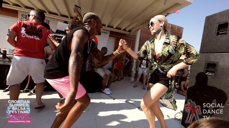 Yoandy Villaurrutia Nina Salsa social dancing Croatian Summer Salsa Festival Rovinj 2018