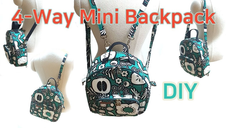 DIY 4-Way Mini Backpack/Mini Backpack tutorial/네가지로 사용할수 있는 미니백팩/백팩 만들기/Mini mochila tutorial