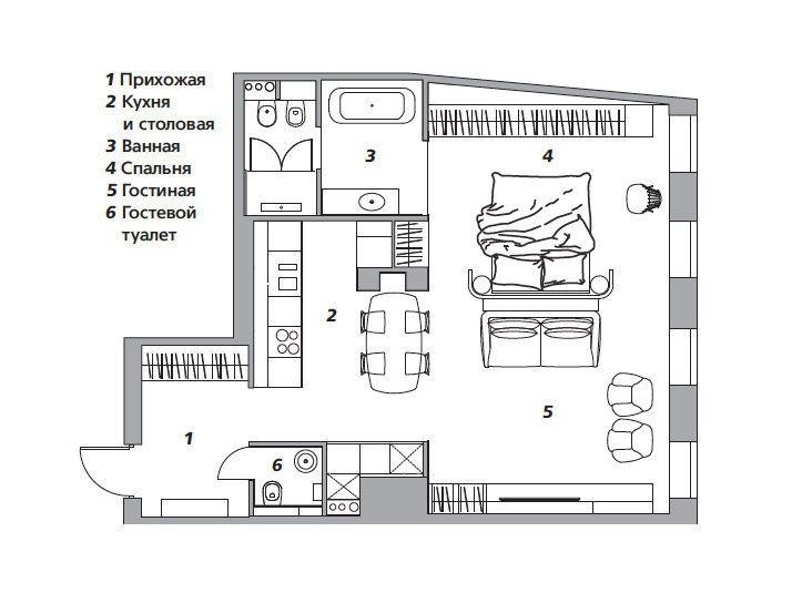 Квартира для деловой женщины, 74 м² от Ольги Сурковой