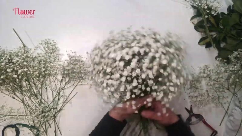 Cách làm bó hoa cầm tay cô dâu baby trắng